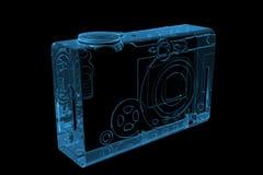 La macchina fotografica di casella 3D ha reso i raggi X blu Fotografie Stock Libere da Diritti
