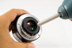 La macchina fotografica di pulizia len Immagini Stock Libere da Diritti