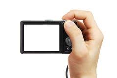La macchina fotografica digitale in una mano Fotografia Stock Libera da Diritti