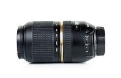 La macchina fotografica len isolato sui precedenti bianchi Fotografie Stock Libere da Diritti