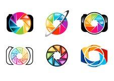 la macchina fotografica, logo, lente, apertura, otturatori, arcobaleno, colorize, insieme di progettazione di vettore dell'icona  Fotografie Stock Libere da Diritti