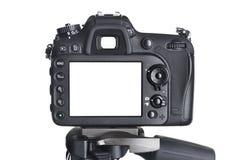 La macchina fotografica posteriore di SLR di vista sul treppiede ha isolato il bianco Fotografie Stock Libere da Diritti