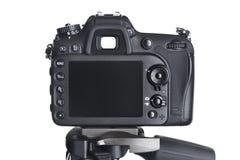 La macchina fotografica posteriore di SLR di vista sul treppiede ha isolato il bianco Fotografia Stock Libera da Diritti