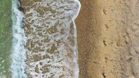 La macchina fotografica si muove lungo il litorale in cui i ishes dell'onda la sabbia stock footage