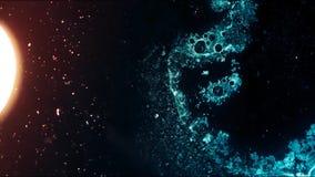 La macchina fotografica sta volando attraverso la nebulosa blu e rosso colorata video d archivio