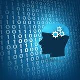 La macchina futuristica di stile moderno ed in profondità imparare, concetto di progetto di intelligenza artificiale, pezzi di 3D Immagini Stock