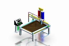 La macchina industriale di modello della taglierina del plasma, 3D rende. Fotografie Stock Libere da Diritti