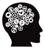 La macchina innesta la testa umana con i simboli sociali di media Immagini Stock Libere da Diritti