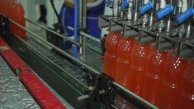 La macchina versa le bottiglie ed il movimento di soda della limonata lungo il nastro trasportatore nella produzione archivi video