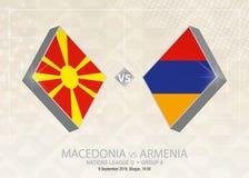 La Macedonia contro l'Armenia, lega D, gruppo 4 Competi di calcio di Europa illustrazione di stock
