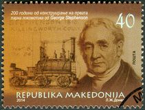 La MACEDONIA - 2014: mostra il ritratto di George Stephenson 1781-1848, dell'ingegnere civile e dell'ingegnere meccanico fotografie stock libere da diritti