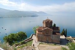 La Macedonia, Ocrida, chiesa di St John a Kaneo Fotografie Stock Libere da Diritti