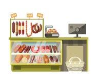 La macelleria ha incontrato il contatore del negozio delle salsiccie dell'esposizione piana di vettore del prodotto del deposito  illustrazione vettoriale