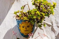 La maceta de cerámica con las flores colgó en la pared, adornamiento Fotografía de archivo