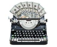 La machine à écrire imprimant des dollars, font le concept d'argent rendu 3d illustration de vecteur
