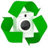 La machine à laver à l'intérieur du symbole réutilisent images stock