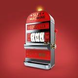 la machine à sous classique de vintage avec des symboles monétaires tournoie d'isolement sur le fond de couleur rendez Photographie stock