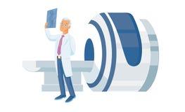 La machine et le docteur de résonance magnétique de représentation regarde d'un air songeur un rayon X shotIsolated sur le fond b Photos stock