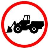 La machine industrielle lourde peut sortir le panneau routier rouge de cercle de précaution d'interdiction d'isolement sur le fon Image stock