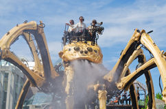 Giant Mechanical Spider, Kumo letting of steam Royalty Free Stock Photos