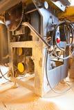 La machine-outil de travail du bois avec un disque a vu Photos libres de droits