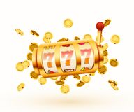La machine ? sous d'or avec piloter les pi?ces de monnaie d'or gagne le gros lot Grand concept de victoire illustration de vecteur