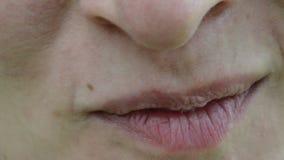 La macro bocca delle labbra del fronte della donna mangia il sorriso ecologico della mora stock footage