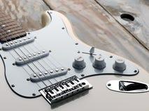 La macro immagine di una chitarra elettrica bianca Fotografia Stock