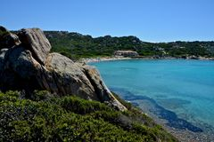 La Maddalena seascape. With blue sea and beach surrounded by nature Stock Photo