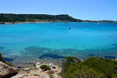 La Maddalena seascape. With blue sea surrounded by nature Stock Photography