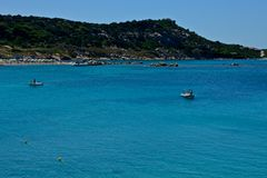 La Maddalena seascape. With blue sea and yachts moored surrounded by nature Royalty Free Stock Images