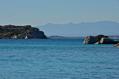 La Maddalena seascape. With blue sea and yachts moored surrounded by nature Royalty Free Stock Photos