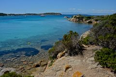 La Maddalena seascape. With blue sea and yachts moored surrounded by nature Stock Photo
