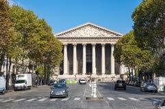 La Madeleine church in Paris. PARIS, FRANCE - OCTOBER 11, 2015: L`eglise de la Madeleine is actually a church, dedicated to Saint Mary Magdalene, Paris, France royalty free stock photo