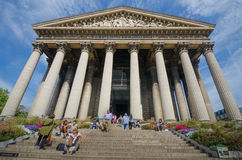 La Madeleine Church in Paris, France is a popular tourist destination. PARIS, FRANCE AUGUST 26, 2015 La Madeleine is a Roman Catholic Church built in the Neo Royalty Free Stock Images
