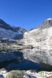 La madera del cielo azul de la naturaleza de la montaña se nubla reflejo del lago Fotos de archivo