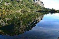 La madera del parque del verde del cielo azul de la naturaleza de la montaña se nubla el reflejo del lago agradable Imagen de archivo libre de regalías