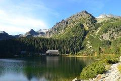 La madera del parque del verde del cielo azul de la naturaleza de la montaña se nubla el reflejo del lago agradable Fotos de archivo libres de regalías