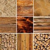 La madera texturiza el collage Imágenes de archivo libres de regalías