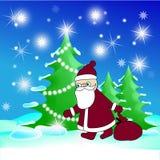 La madera y el Santa de la Navidad Imagenes de archivo