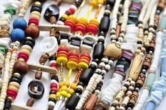 La madera y el seashell rebordean los collares Fotografía de archivo libre de regalías