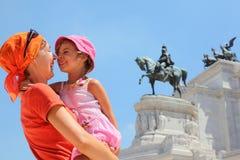 La madre è figlia della holding, monumento equestre Fotografie Stock