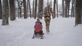 La madre alegre rueda a su pequeña hija en un trineo en el invierno en el parque con muchos árboles Mujer joven y ella almacen de metraje de vídeo