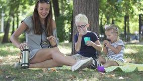 La madre con i bambini sta bevendo il tè nel parco immagini stock