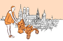 La madre con il carrozzino a Monaco di Baviera, Vector lo schizzo disegnato a mano Fotografia Stock Libera da Diritti