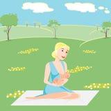 La madre dell'illustrazione sta allattando al seno il bambino 210 Fotografia Stock Libera da Diritti