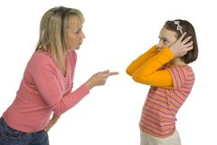 La madre disciplina la figlia Fotografie Stock Libere da Diritti
