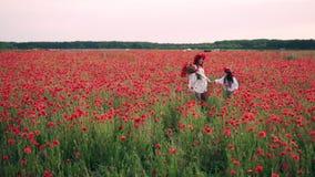 La madre e la figlia felici vanno sul campo sbocciante del papavero al tramonto, il movimento lento, piano globale archivi video