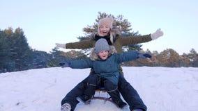 La madre ed il figlio che si divertono sledging sulla neve con le loro armi si sono alzati in foresta video d archivio