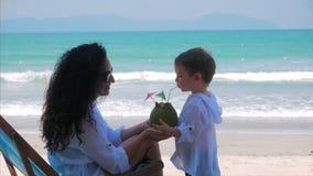 La madre feliz alimenta su coco lindo del ni?o Mam? con aire libre del beb?, familia feliz, ni?ez feliz, peque?o beb? del concept metrajes